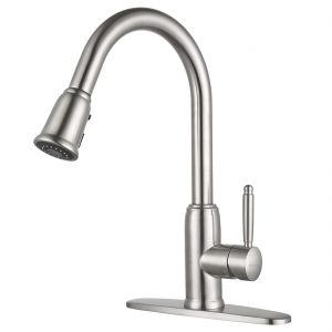 iVIGA Stainless Steel Kitchen Sink Faucet with Pull Down Sprayer,  High Arc Brushed Nickel, 360 Degree Swivel, Single Handle