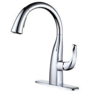 iVIGA Gooseneck Kitchen Faucet with Dual Function Pulldown Sprayer, Single Handle Leak Free 360 Degree Rotation