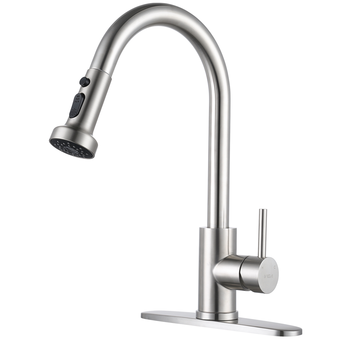IVIGA Kitchen Faucet Brushed Nickel Pull Down