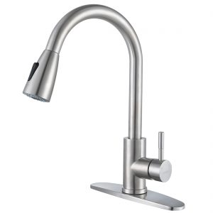 iVIGA 360 Degree Swivel Modern Brushed Nickel High Arc Kitchen Faucet with Pull Out Sprayer