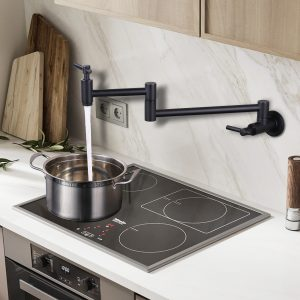 iVIGA Black Pot Filler Kitchen Sink Faucet Folding Stretchable Double Joint Pasta Arms with 2 Handles